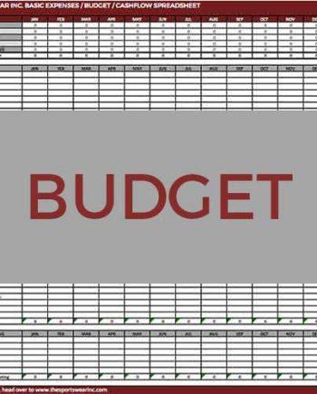 Sportswear Inc. Budget Template