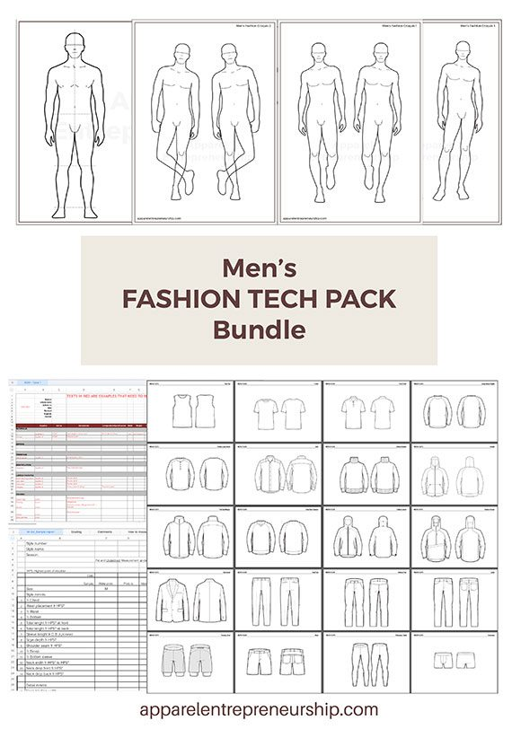 Men's Fashion Tech Pack Templates