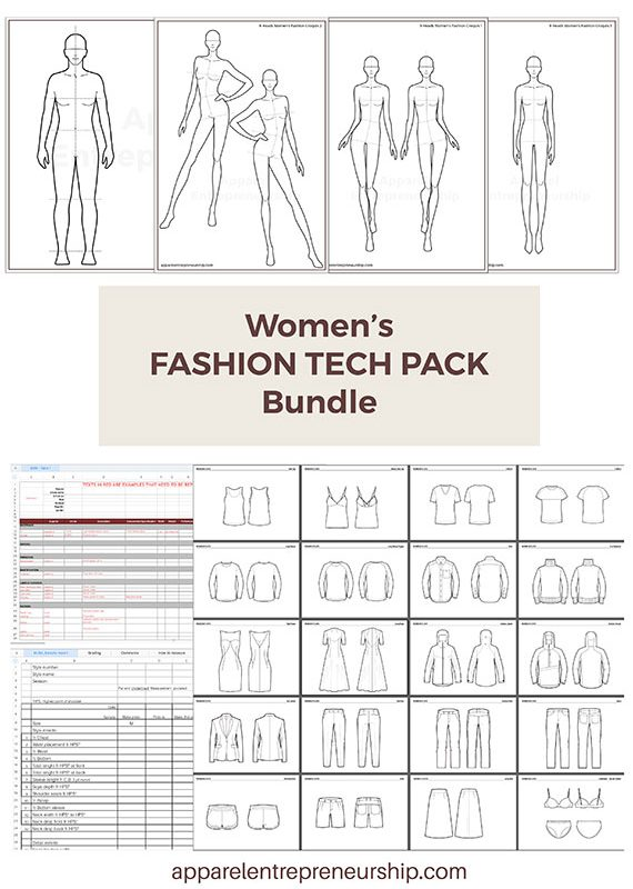 Women's Fashion Tech Pack Templates