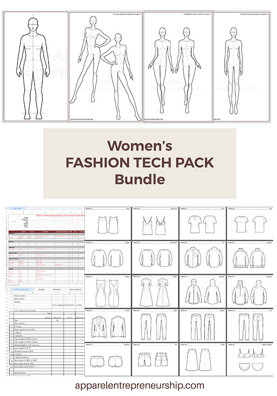 Women's Fashion Tech Pack Templates
